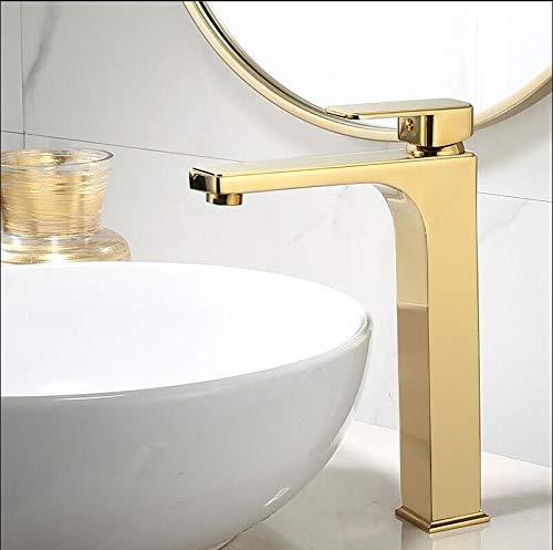 Grifo de baño dorado Grifo de lavabo de una manija Grifo mezclador de lavabo de latón Grifo de lavabo de latón Grifo de lavabo de latón