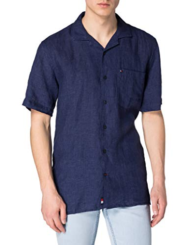 Tommy Hilfiger Pigment Dyed LI Camp Shirt S/S Camicia, Yale Navy, S Uomo