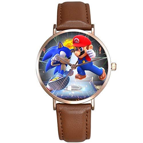 XINTENG Mario Bros Reloj Mario Super Sonic para niños Relojes Premium Correa de cuero Relojes de pulsera de cuarzo para niños Dibujos animados Sonic el erizo