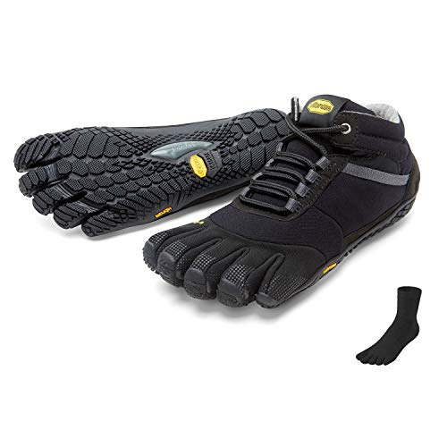 Vibram Fivefingers Trek Calcetines de Dedos Ascent Insulated Men +–Set–Trekking Dedos de Zapatos/Bar Soporte de Invierno con Gratis Calcetines de Cinco Dedos, Negro, 40 EU