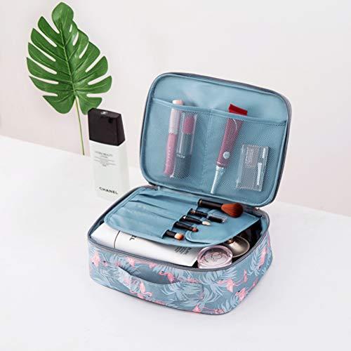 GLXLSBZ Kosmetiktasche Mädchen, Reise Schminktasche mit Pinselfach Schwarz Kosmetiktasche mit vielen Fächern Tragbare Doppelschicht Wasserdicht Makeup Tasche Organizer, Blue