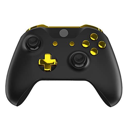 eXtremeRate Knöpfe Tasten Set LB RB LT RT Bumpers Triggers D-Pad ABXY Ansicht Menü-Tasten Steuerkreuz Ersätze Kit mit Tool für Xbox One S/Xbox One X Controller Modell 1708(Chrome Gold)
