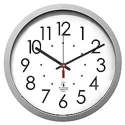 THE CHICAGO LIGHTHOUSE Silver 14.5 Contemporary Clock, 12.5 Dial, Quartz Movement, ILC67818003