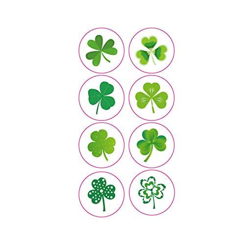 Moent 1 rollo de pegatinas del día de San Patricio (200 piezas), diseño de tréboles irlandeses, para puertas, dormitorios, caja de regalo, decoración del hogar