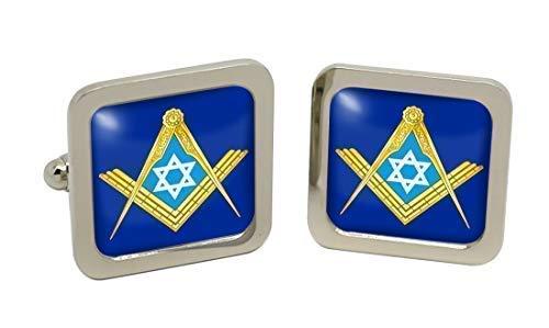 Etoile de David symbole maçonnique pour homme Chrome Boutons de manchette avec coffret cadeau