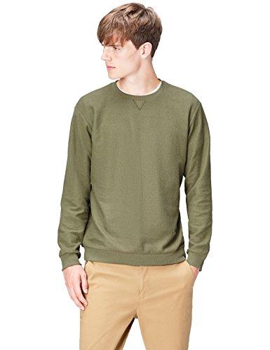 Amazon-Marke: find. Sweatshirt Herren meliert mit rundem Ausschnitt, Grün (Tea 005), M, Label: M