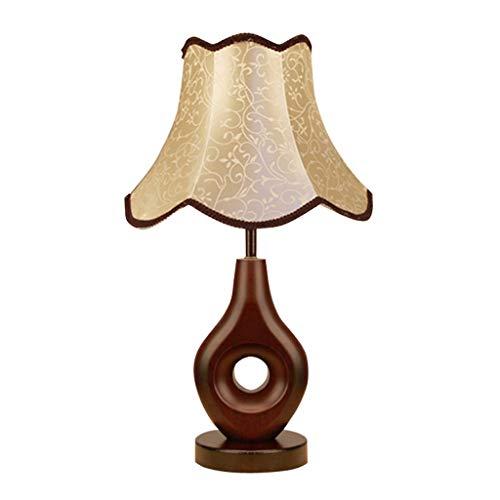 YIXIN2013SHOP Lámpara de Cabecera China Lámpara de Mesa de Madera Dormitorio de Noche llevó la lámpara Retro Tela Sala de Estar Cuarto de Hotel Lámpara de Mesa LLámpara de Noche