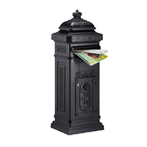 Relaxdays Standbriefkasten Antik, britisches Design, rostfreies Aluminium, 101x34,5x31 cm, Säulenbriefkasten, schwarz