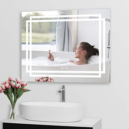 iiSPORT LED Badspiegel Wandspiegel 90x70cm Badezimmerspiegel mit Beleuchtung Spiegel mit Touch-Schalter,3 Lichtfarben mit Dimmbarer Helligkeit