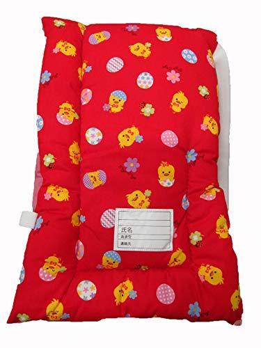 防災クッション 防災頭巾 日本製 小学生低学年向け:約25X42 (5 赤地 ひよこ柄)