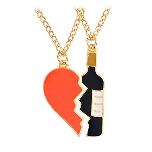 Forma de corazón agrietado y botella de vino colgante collar mejores amigos para siempre collar de pareja joyería regalo