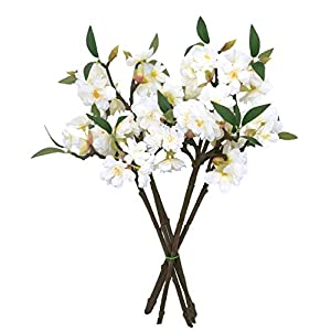 D-Seven 6pcs of Artificial Cherry Blossom Stems Fake Sakura Silk Flower Branches for Wedding Party Garden Home Hotel Office Shop Arch Decoration