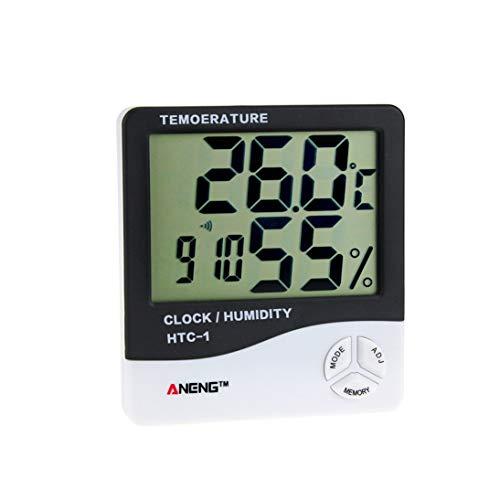 Togames-DE HTC-1 Indoor LCD Elektronisches Digitales Temperatur-Und Feuchtigkeitsmessgerät Raumthermometer Hygrometer Wecker Wetterstation