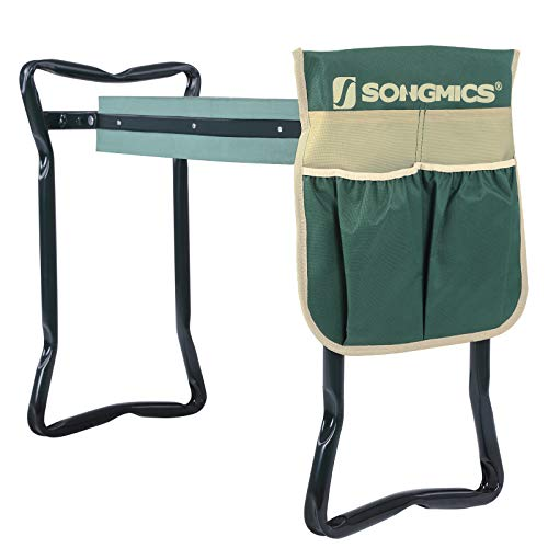 SONGMICS Garden Kneeler Seat, with Upgraded Thicken Kneeling Pad and 1 Large Tool Pouch, Foldable Stool 330lb Capacity UGGK49L