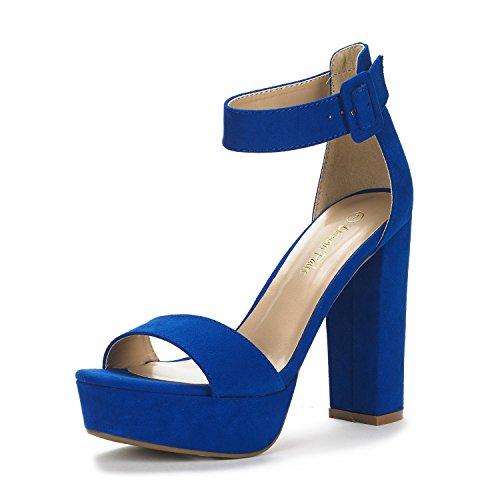 DREAM PAIRS Women's Hi-Lo Royal Blue High Heel Platform Pump Sandals - 7.5 M US