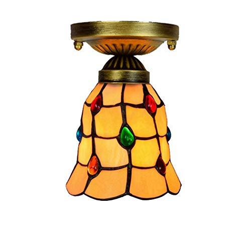 6 Inch Tiffany Style Middellandse plafond hangende Bevestiging Kitchen Island hanglamp met gele glazen kap inbouw Handgemaakte Lamp Art Kroonluchter voor Stairway Balkon E27