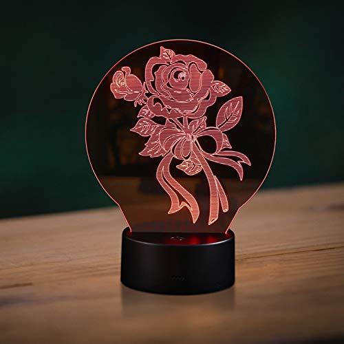 Mobestech 3D Rose Blume Optische Täuschung Lampe 7 Farben Ändern LED 3D Nachtlicht Tischlampe Touch- Steuerung für zu Hause Bett Geburtstag