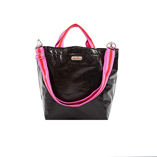 brasi&brasi Shopper Shop&Summer Stripe Zip - Bolsa para la compra con cremallera, color negro