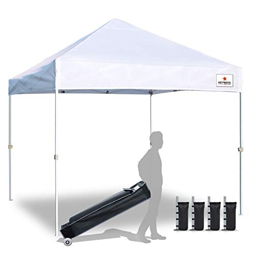 Keymaya 10x10 Ez Pop Up Canopy Tent Commercial Instant Shelter Canopies Bonus Heavy Duty Weight Bag...