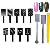 12 pcs/Lot de 9 Styles Yeux de chat 3D Clé magnétique pour vernis gel magique ongles Outils, MWOOT Nail Magnet Tool Magnetic Stick Aimant Stylo for Cat Eye Gel Polish