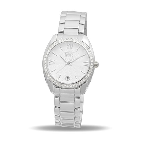Davis 2020 - Dameshorloge strass Swarovski-kristal wijzerplaat wit datum armband staal