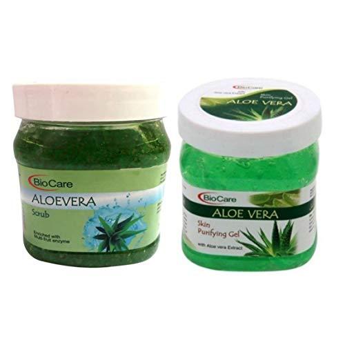 Biocare aloe Vera face scrub & gel brightening deep cleaning ( combo pack of 2 x 500 = ml )
