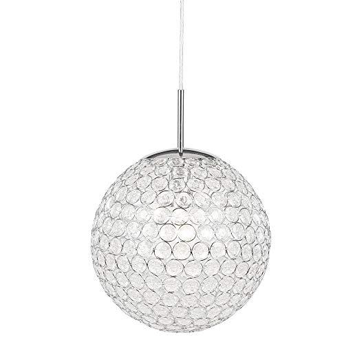 Zeitlose Hängeleuchte chrom Kunststoffkristalle klar - Globo KONDA 16004