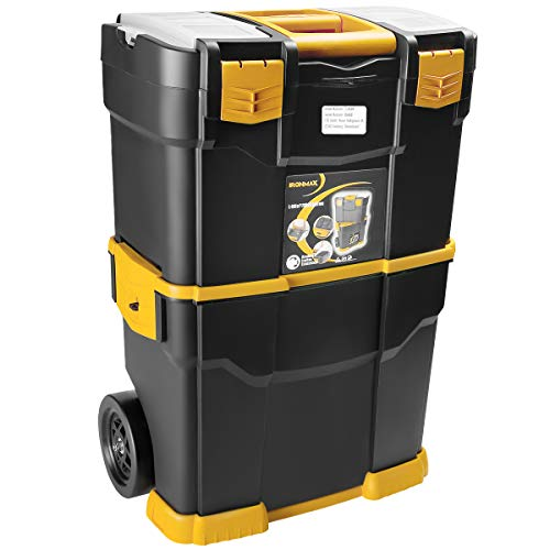 FANTASK Rolling Stackable Toolbox, Portable Tool Storage Box w/Removable Tray, 2 Wheels, Foldable Handle, Mobile Heavy Duty Tool Organizer Chest for Workshop Garage
