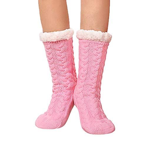 ZEELIY Hausschuhsocken mit Rutschfester Sohle Gestrickter Plüsch für Männer und Frauen Mid Tube Socken Kälteschutz Fußbodensocken