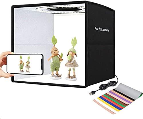 Salandens 30cm Caja de Estudio Fotográfico Caja de Fotografia Portátil Plegable Photo Studio con Color y Brillo Ajustable 80 Luces...