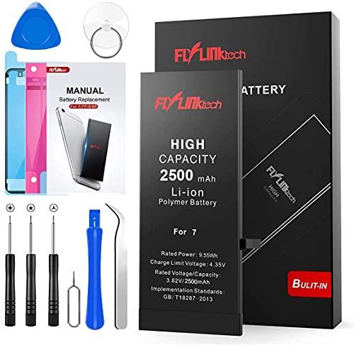 Batería para iPhone 7 2500mAH con 28% más de Capacidad Que la batería Origina, FLYLINKTECH Reemplazo de Alta Capacidad Batería para iPhone 7 con Kits de Herramientas de reparación, Cinta Adhesiva