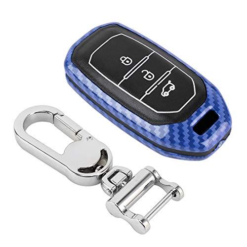 Auto Bunte Schlüsselschale, Fshion Carbon-Faser-Textur-Auto-Schlüssel Schutzhülle, passend for Ford Territory Intelligente (Color : Blue)