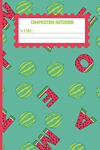 Composition Notebook: Watermelon gifts: cute & elegant Keppel colored pattern college ruled lined paper to write in.