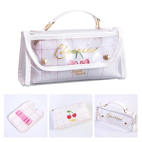 Pencil Box Large-Capacity Pencil Primary School Students Junior High School Students Stationery Bag,White Plaid Cherry