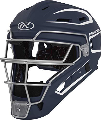 Rawlings Velo Series 2.0 Two-Tone Baseball Catcher's Helmet, Matte Navy and White, Junior, CHV27J-N/W