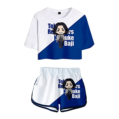 Anime Tokyo Avengers Camiseta Pantalones Cortos Conjunto Mujer Traje 2 Piezas Tops Manga Corta Sexy Casual Ropa Impresa 3D Summer niña Adolescente
