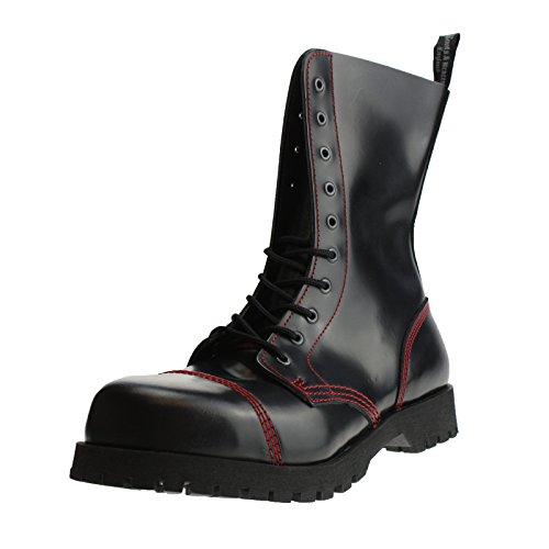Boots & Braces - 10 Loch schwarz mit roter Naht Größe 41 (UK7)