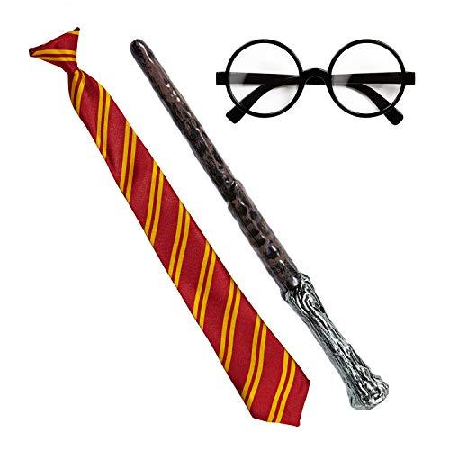 com-four® Conjunto de Disfraces de Mago de 3 Partes - Disfraz Harry Potter para niños - Corbata de Harry Potter para Carnaval y Halloween (03 Piezas - Gafas,Varita mágica,Corbata)