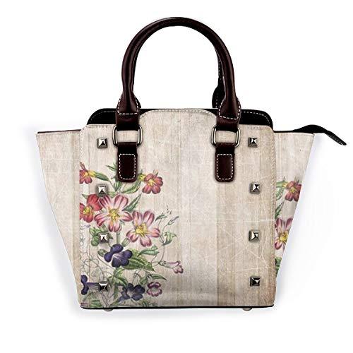 BROWCIN Blumen Antike Holzbrett Bauernhaus Zaun Blume Abnehmbare mode trend damen handtasche umhängetasche umhängetasche