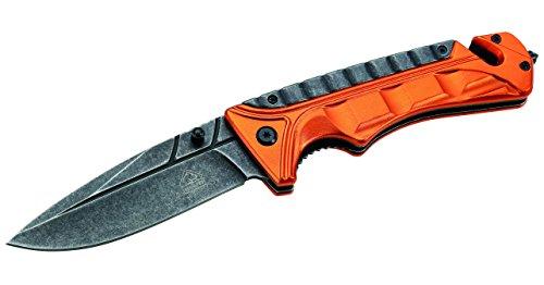 Puma Tec Unisex– Erwachsene Rettungsmesser, Stahl Aisi 420, Liner Lock, Aluminiumschalen, Glasbrecher, Gurtschneider, grau, M