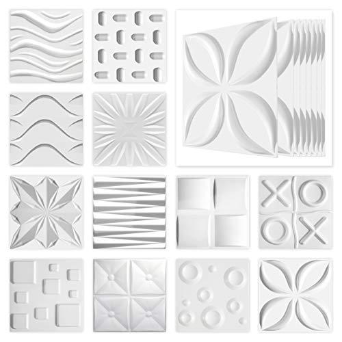Hexim - Pannelli 3D 50 x 50 cm, per parete e soffitto con pannelli in polistirene espanso espanso espanso bianco (Wave, 10 m²)