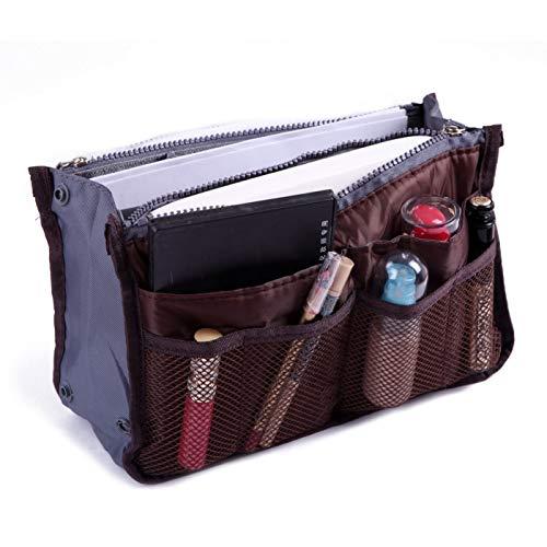 Ducomi® Organizzatore Per Borsa con 13 tasche capienti: documenti, telefono, trucco, chiavi a portata di mano. (Coffee)