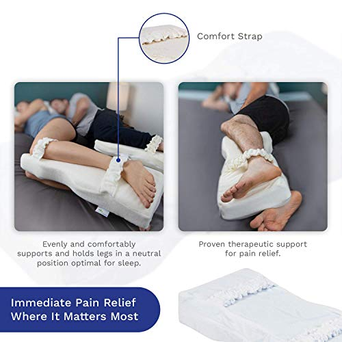 Knee-T Memory Foam Leg Pillow by Back Support Systems - Patented - Best Side Sleeper Pillow for Back Pain Relief, Hip and Sciatica Pain, Side Sleepers - Designed by Doctors