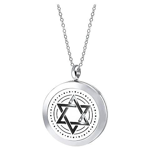 ZHSDTHJY Collar de Botella de Aceite Esencial de Perfume con Colgante de Estrella de Seis Puntas, Accesorios, Collar Gris