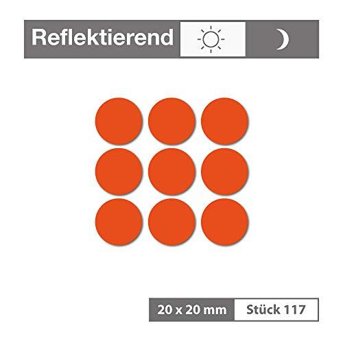 Reflektierende Aufkleber als Kreis (117 Stück, 20x20 mm, orange) - selbstklebend und wetterfest - für Garagen, Einfahrten, Schulranzen, Zäune, Fahrräder, Motorräder - Reflexfolie Reflektorfolie