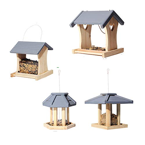 GYJ 4PCS Mesa de pájaros de Madera Jardín Comedero para pájaros Comedero Cubierto Wildbird Colgante…