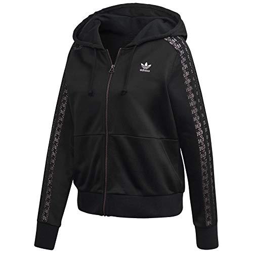 adidas Originals - Felpa con cappuccio con zip in pizzo - nero - X-Small