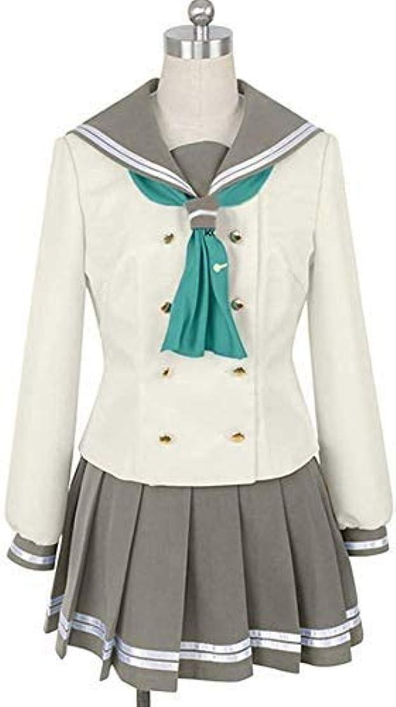 シーズン命題効率的にHF_cos松浦果南 学院女子制服 長袖セーラー服 4店セット コスプレ衣装 オーダーメイド可能 緑色リボン (XL)
