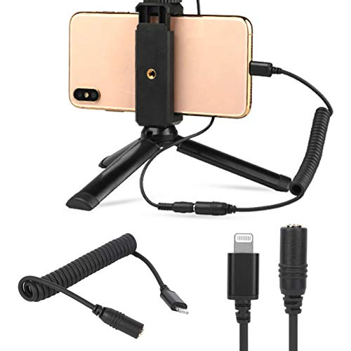 JYLSYMJa Micrófono Adaptador de Resorte para teléfono Cable de conexión de Audio para Sistema iOS Equipo de Puerto Receptor inalámbrico Cable Adaptador de teléfono móvil