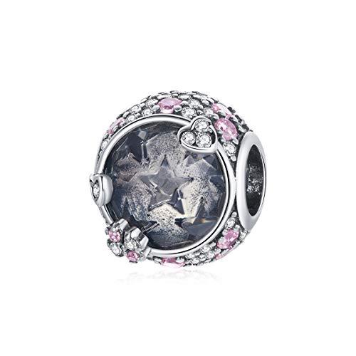Romántica boda 925 plata esterlina rosa circón patrón estrella encanto para pulsera brazalete joyería